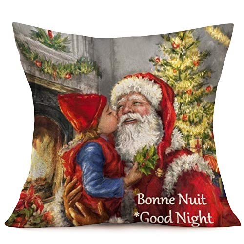 Asamour Christmas Santa Claus Cotton Linen Pillow Covers Square Burlap Decorative Throw Pillow Case Cushion Cover 18x18 Snowflake,Christmas Tree,Best Gifts (Santa 04)