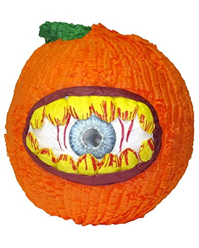 Pinatas Large Pumpkin Halloween with Hungry Eye, Paper Mache Molded Handcraft - Use as Party Game, Centerpiece, Photo Prop and Candy Holder