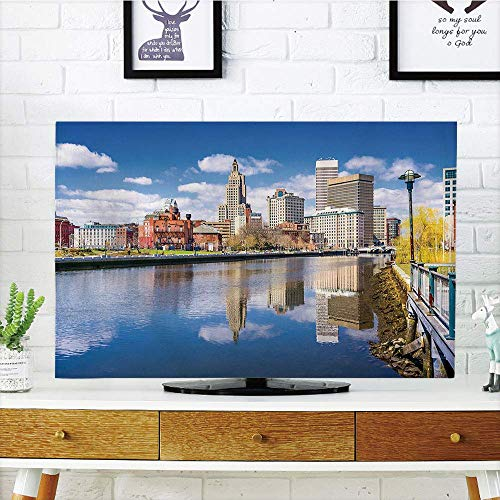 LCD TV dust Premium Cover,United States,Providence Rhode Island Riverfront Spring Season Water Reflection Buildings Decorative,Multicolor,3D Print Compatible 32