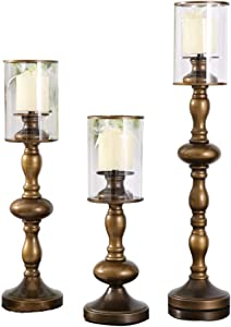 Vintage Metal Pillar Candle Holder, Set of 3 Antique Hurricane Candlestick Glass Cover for Wedding Candlelight Dinner Decor-a