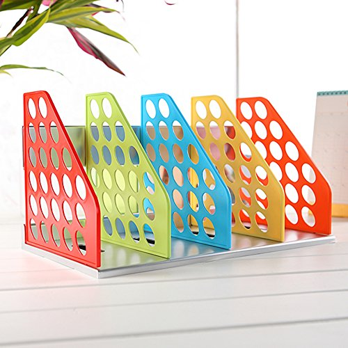 Olpchee Plastic DIY Bookend Adjustable Office Magazine Document File Holder Desk Storage Organizer Rack Colorful by Olpchee