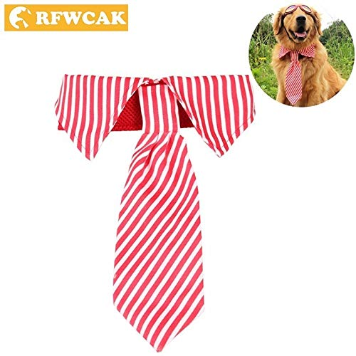 (Dog Bow Tie - Solid Polyester Dog Collar With Fashion Tie Safety Elastic Small Large Dogs Cat Striped Necktie Pet Accessories)