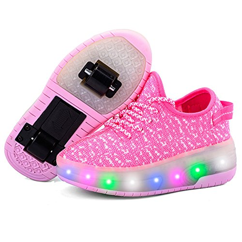 edv0d2v266 USB Charging LED Light up Roller Skate Shoes Double Wheel Flashing Sneakers for Boys Girls Kids(Pink 2 Wheel 1 M US Little Kid) by edv0d2v266 (Image #4)