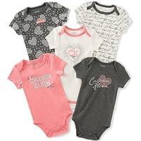 Calvin Klein Baby Girls' Assorted Short Sleeve Bodysuit, Gray/Coral, 0-3 Mont...