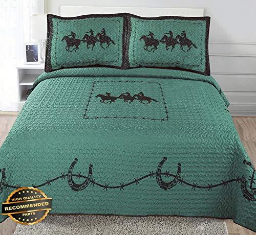 Werrox Texas Rustic Rodeo Running Horse Star Western Quilt Bedspread Comforter 3Pc Set!   Full/Queen Size   Quilt Style QLTR-291265400 (Brown Sugar Quilt Set)