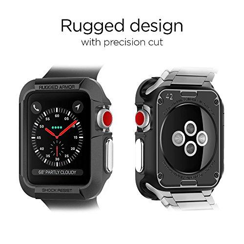 Armadura robusta diseñada para la caja del reloj de Apple para 42mm Series 3 /Series 2/1 /Original (2015) - Negro