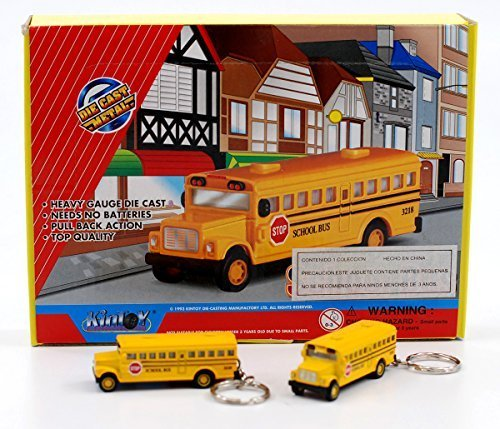 Box of 12: Die-cast Mini School bus with Keychain (Promotional Gift Box)