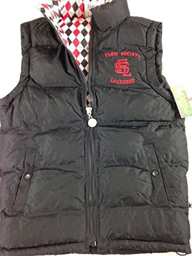 Flow Society Puffer Vest Jacket Youth Boys Lacrosse Filled Lined Coat Sleeveless (Black, X-Large)