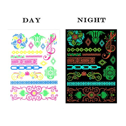 AQUEENLY Blacklight Tattoos, Luminous Temporary Henna Tattoos Colored Glow Tattoos in The Dark for Party, Festival, Club - Party Accessories]()