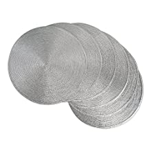 DII Round Braided & Woven, Indoor/Outdoor Placemat or Charger, Set of 6, Metallic Silver