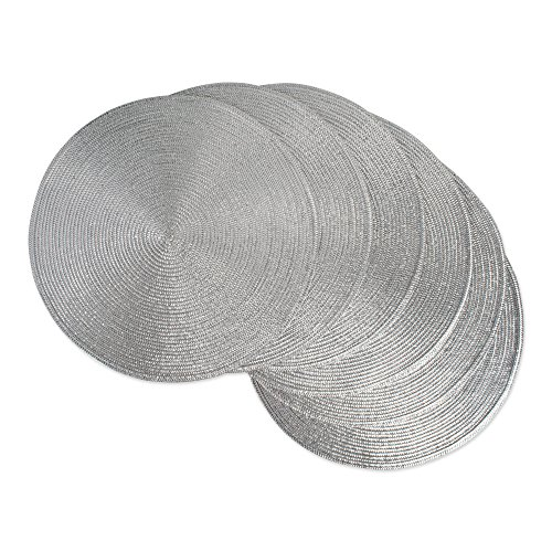 DII Round Braided & Woven, Indoor/Outdoor Placemat or Charger, Set of 6, Metallic Silver (Extending Table Round)