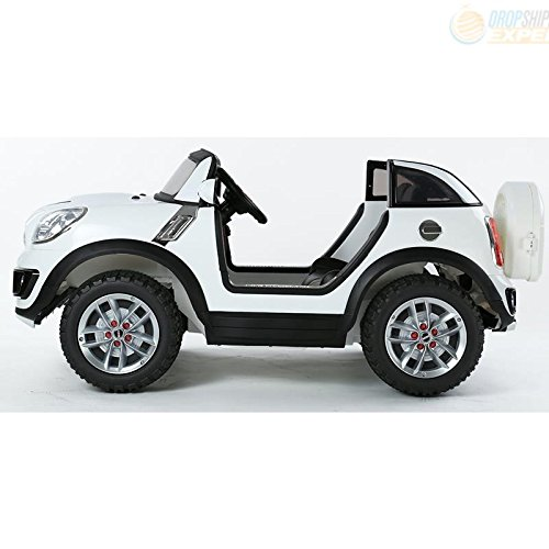 amazoncom electric battery ride on car for kids mini cooper beachcomber model jj298 white toys games