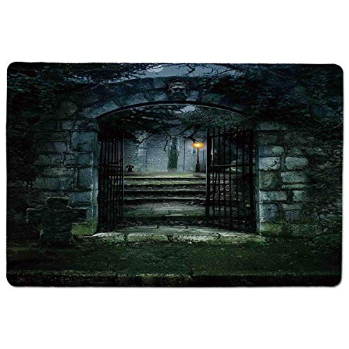 SCOCICI Premium-Textured Mouse Mat Pad Illustration of The Gate of a Dark Old Haunted House Cemetary Dead Myst Fiction,Non-Slip Rubber Base Mousepad,for Laptop,Computer,PC,Keyboard (23.6x15.7 inch)