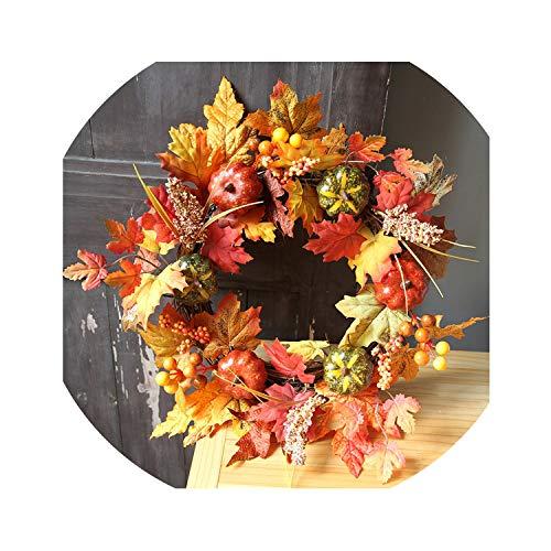 Wreath Decoration 40CM Halloween Pumpkin Berry Maple Leaf Fall Door Wreath Door Wall Ornament Decorations Farmhouse Decor,B ()