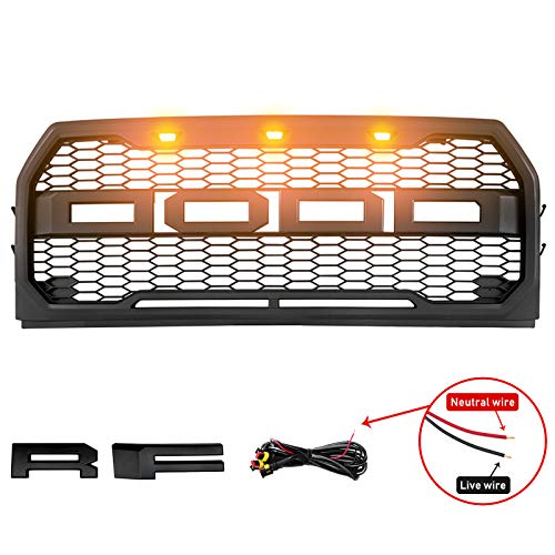 Motorshive Grille Fit Ford F150 2015 2017 Raptor Mesh Style With Amber Led Lights Grill Matte Black 2015 2016 2017