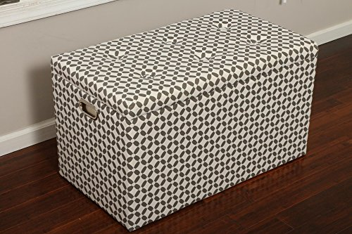 Oliver and Smith Cloth Storage Ottoman with – 3 Ottomans & 2 Stools – 33″ x 17.5″ x 18.5″ – 1344 Grey and White For Sale