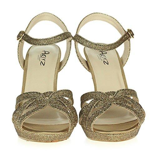 AARZ LONDON Frau Damen Glitzernd Abend Hochzeit Party Braut Abschlussball Plattform Hoher Absatz Sandalen Schuhe Größe Braun