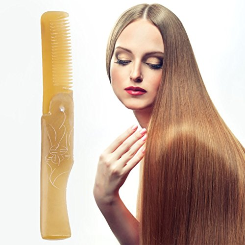 1 Pack Comb Hairbrush Ox Horn Fine Tooth Pocket Folding All Hair Types Beard Combo Long Round Handle Holder Brainy Popular Brush Natural Grooming Women Travel Kit
