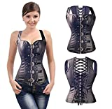 3-5 Days Delivery Women Steampunk Punk Rock Faux Leather Buckle-up Corset Bustier Basque Top