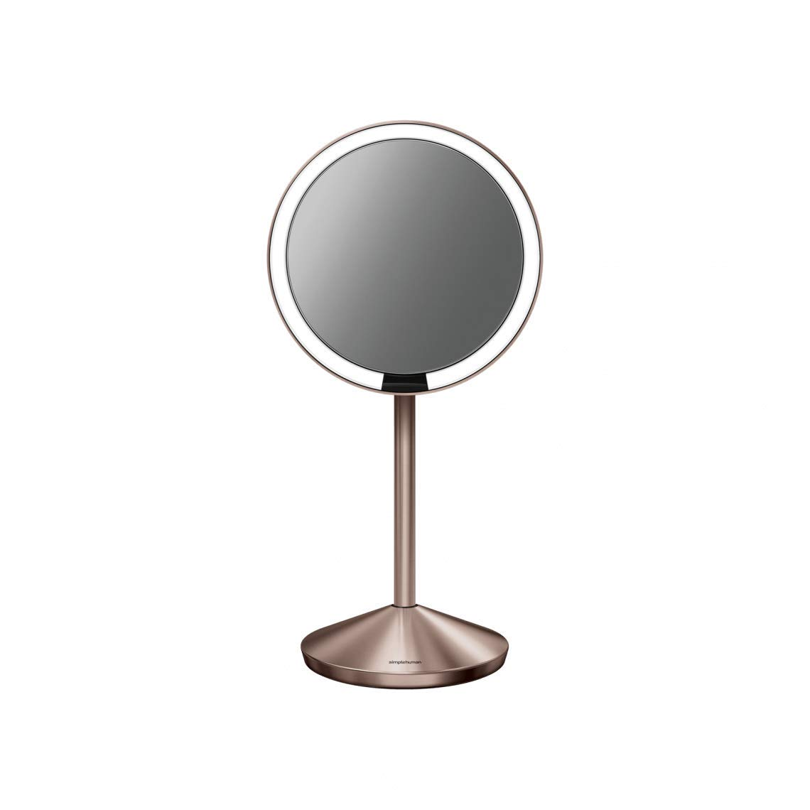 "simplehuman Mini Sensor Lighted Makeup Travel Mirror 5"" Round, 10x Magnification, Rose Gold Stainless Steel, Rechargeable"