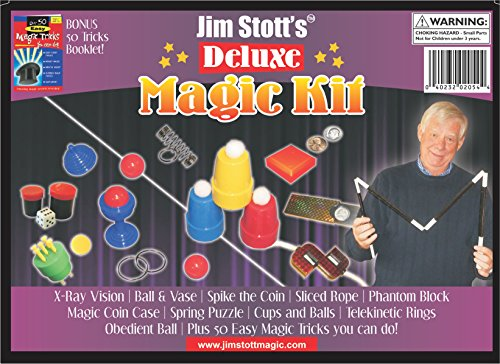 (Jim Stott's 'Deluxe Magic Kit' for Kids, Magic Tricks Set for Girls and Boys, Ball and Vase, X-Ray Vision, Spike the Coin, Ring and Spring, Sliced Rope, Magic Coin Case, and Obedient Ball)