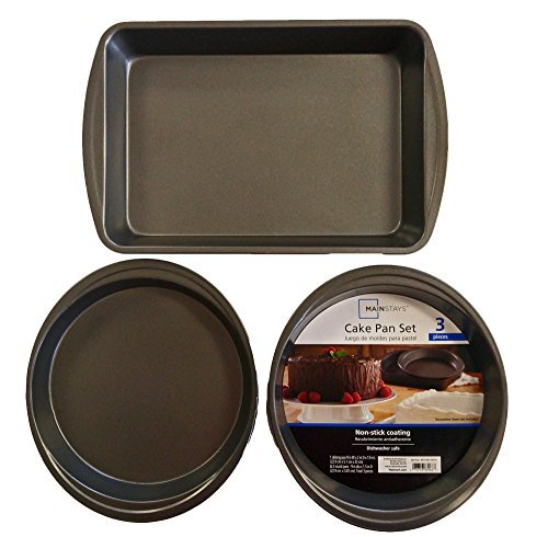 Set of 3 Mainstays Non-Stick Cake Pan