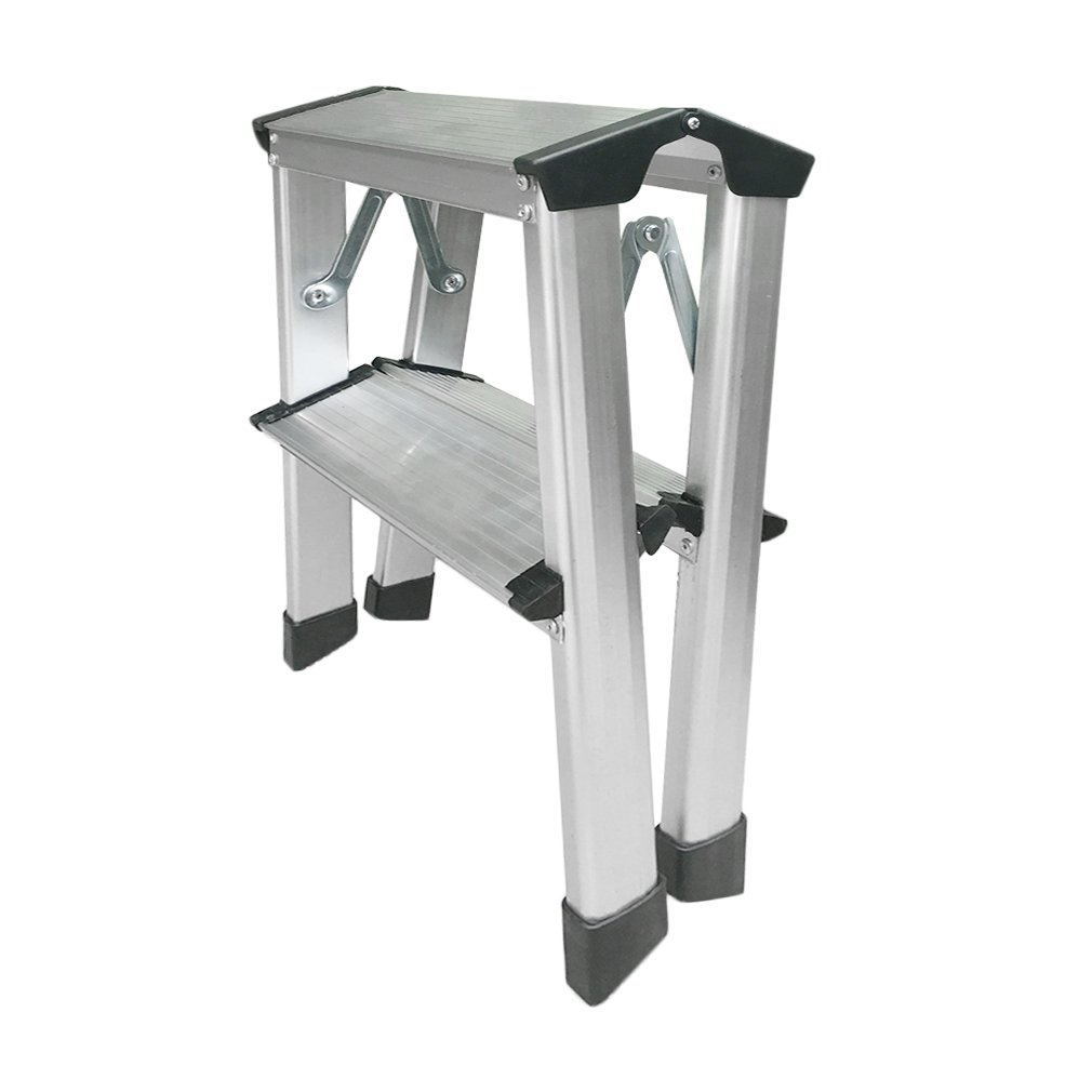 Homgrace Trittleiter Aluminium Klapptritt Doppelstufen Alu Leiter Stehleiter Klappleiter Haushaltsleiter 2x2Stufen
