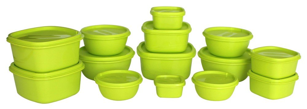 Princeware SF Plastic Storage Container Set, 14-Pieces, Green