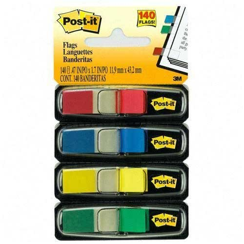 Wholesale CASE of 25 - 3M Post-it Colored Small Tape Flags-Self-Stick Flags, 1/2''x1-3/4'', 140/PK, BE/GN/RD/YW