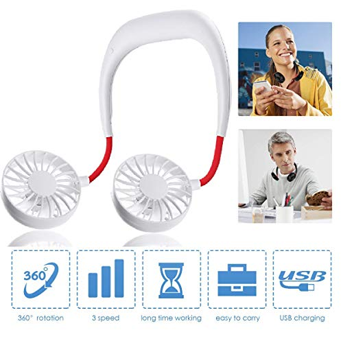 [Upgrade]Hand Free Personal Fan Neckband Sport Fan, Portable USB Battery Rechargeable Mini Fan, Adjustment Desktop Wearable Cooler Fan for Traveling/Camping/BBQ/Gym/Outdoor/Office with Free Rubber
