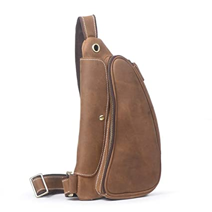 d18504b954b1 Image Unavailable. Image not available for. Color  Ybriefbag Outdoor Sports  Men s Leather Casual Outdoor Travel Chest Shoulder Messenger Bag ...