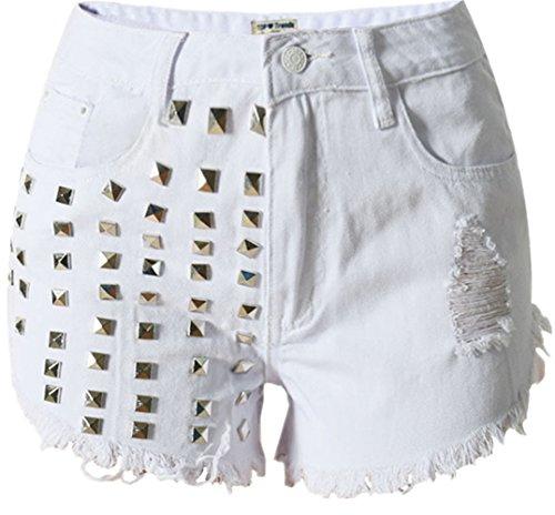 Beautisun Taille Blanc Denim Shorts Taille Rivet De Trou Coton Shorts Haute Femmes Couleurs Pocket lastique t Denim Jeans Chaud Pantalon Trois Haute Denim Shorts Pantalon ASx0wAqr
