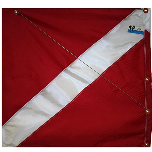 (JCS Nylon Dive Flag with Brass Grommets & Steel Spring Wire Stiffener, 31inch x)