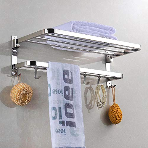 (Yescom Wall Mounted Towel Rack Rail Holder Storage Shelf 4 Sliding Hooks SUS 304 Stainless Steel Chrome Bathroom 18/8)