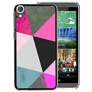 A-type Arte & diseño plástico duro Fundas Cover Cubre Hard Case Cover para HTC Desire 820 (Polygon Art Blue Pink 3D Pattern Mint)
