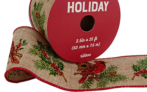 Cardinal Linen wire-edge Ribbon Red Bird 2.5in x 25 ft Winter, Holiday, Christmas