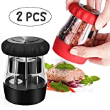 grinder alice - Salt and Pepper Grinder, Sweet Alice 2 In 1 Grinder Pepper Mill and Salt Mill Adjustable Coarseness, Premium Salt and Pepper Shakers with Ceramic Rotor for Kitchen (BLACK+RED)