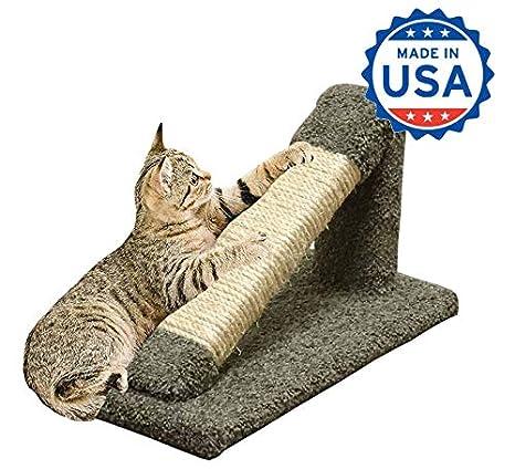 Amazon.com: Cat Scratching Post Verde inclinados Madera Cat ...
