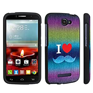 DuroCase ? Alcatel OneTouch Fierce 2 7040T (2014 Released) Hard Case Black - (Denim Love Mustache)