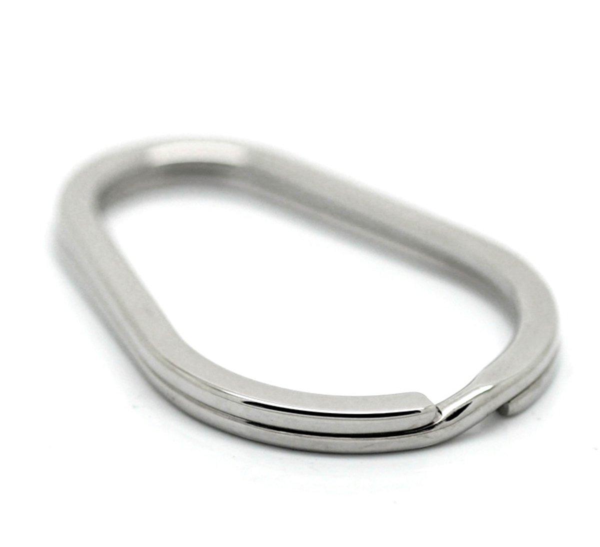 VALYRIA 3pcs Stainless Steel Oval Split Rings Keyrings Keychains Keys Holder 4cm x 2.8cm(1 5/8