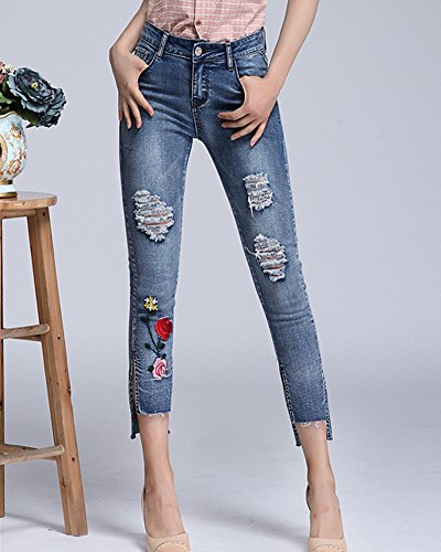 Skinny Pantalon Bleu Femmes Brodes Jeans Fleurs Clair Denim zqZqfc
