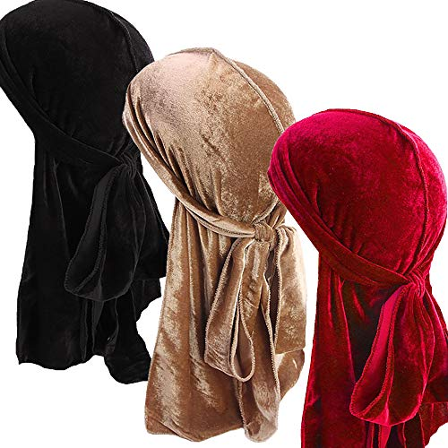 Ababalaya Men 2PCS/3PCS Stretchable Luxury Velvet Long Tail Wide Straps Durag Du-RAG,Group 6(3Pcs)
