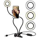 Cell Phone Holder with Selfie Ring Light for Live Stream and Makeup Dimmable 3 Light Mode with Flexible Arms Phone Clip Holder Lazy Bracket Desk Lamp LED Light for Bedroom Office
