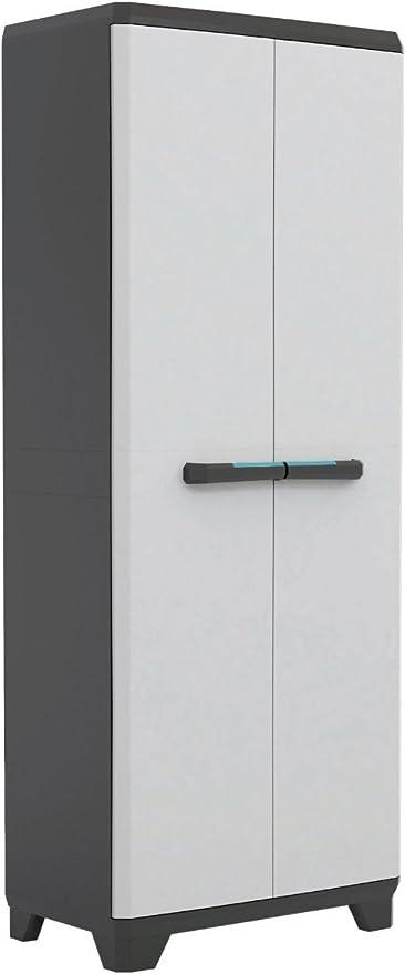 Armario alto de doble puerta con compartimiento escobero y 3 estantes, 68 x 39 x 173 cm, Serie Linear 9726000: Amazon.es: Jardín