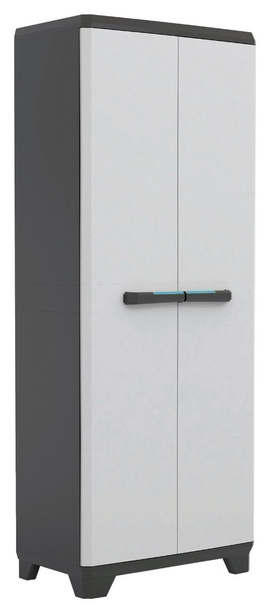 Armario alto de doble puerta con compartimiento escobero y 3estantes, 68x 39x 173 cm,Serie Linear 9726000 68x 39x 173 cm Serie Linear 9726000 ABM