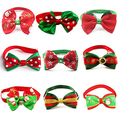 Liaoshanshan 9 Piece Pet Christmas Bowtie Holiday Season Adjustable Dog Collar Cat Party Grooming (Christmas Dog Collar Collars)