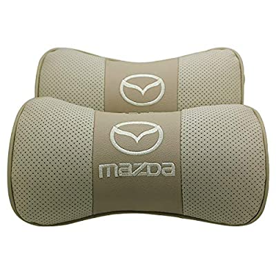 Wall Stickz Car Sales 2 PCS Genuine Leather Bone-Shaped Car Seat Pillow Beige Neck Rest Headrest Comfortable Cushion Pad with Logo Pattern (fit Mazda): Automotive