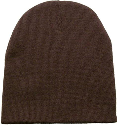 Simplicity Women/Men Short Knit Beanie Hat Ski Snowboard Running Cap, Brown
