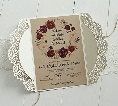 Off White Lace Wedding Invitations Set RSVP Cards Included Rustic Kraft Paper Invitation Cards - Set of 50 pcs (Customized Invitations) by Picky Bride (Image #1)