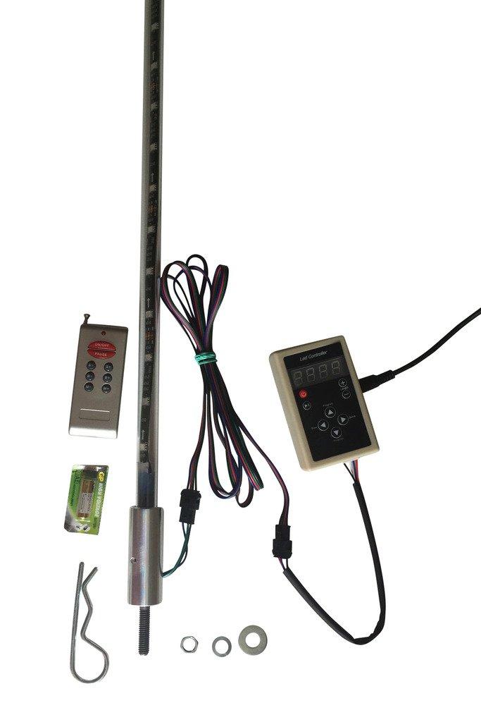 FX Whips - PAIR 3FT STACK/CHASE RGB LED LIGHT WHIP Millar Light Bars